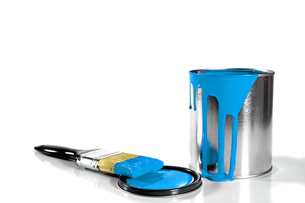 blue paint bucket and brush